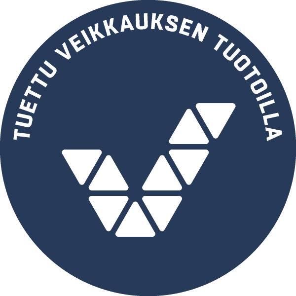 """Veikkauksen logo, jossa on teksti """"Tuettu Veikkauksen tuotoilla""""."""