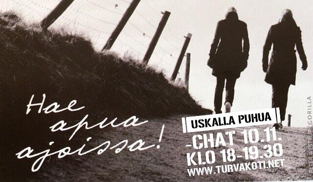#uskallapuhua #chat #tänään #nettiturvakoti #apuaväkivaltaan