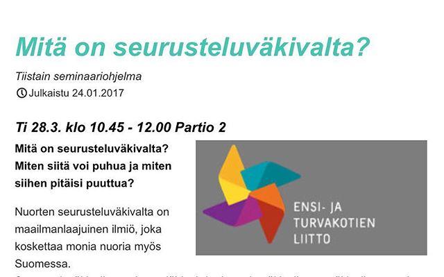 Jos olet tulossa tällä viikolla Tampereelle Nuori2017 -tapahtumaan, tervetuloa kuulemaan ja keskustelemaan seurusteluväkivallasta! #nuori2017 #seurusteluväkivalta #loveisrespect #apuaväkivaltaan